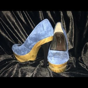 Blue velvet wood platform Jessica Simpson heels